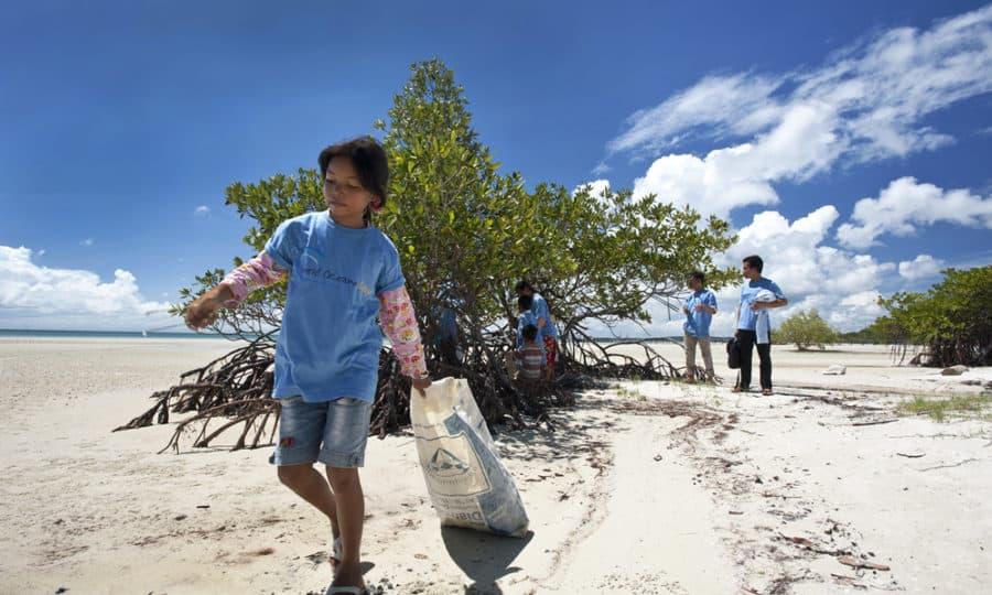 Рис. 2. Уборка побережья от мусора