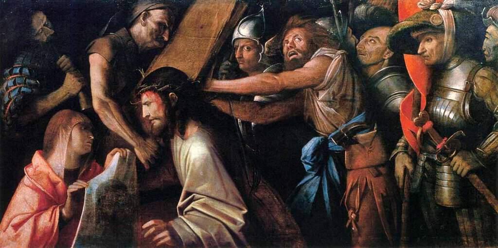 Рисунок 2. Картина, изображающая момент, когда Святая Вероника подает Христу плат