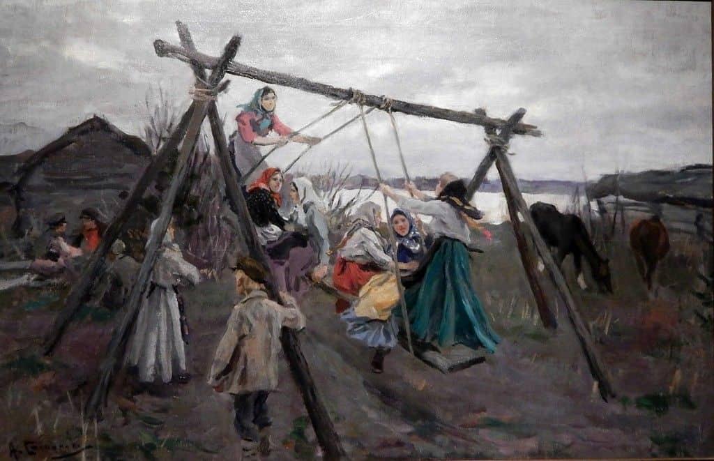 Рис. 3. Пасха на Руси. Картина «На качелях», художник А. Степанов (1858 – 1923).